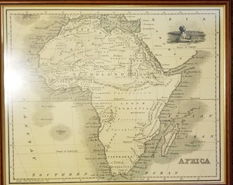 Vintage woodcut 1812 AD Map of Africa