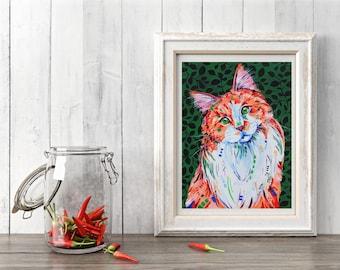 Cat art print, Ginger cat art, Cat lover gift, Cat decor, Ginger cat, Cat painting