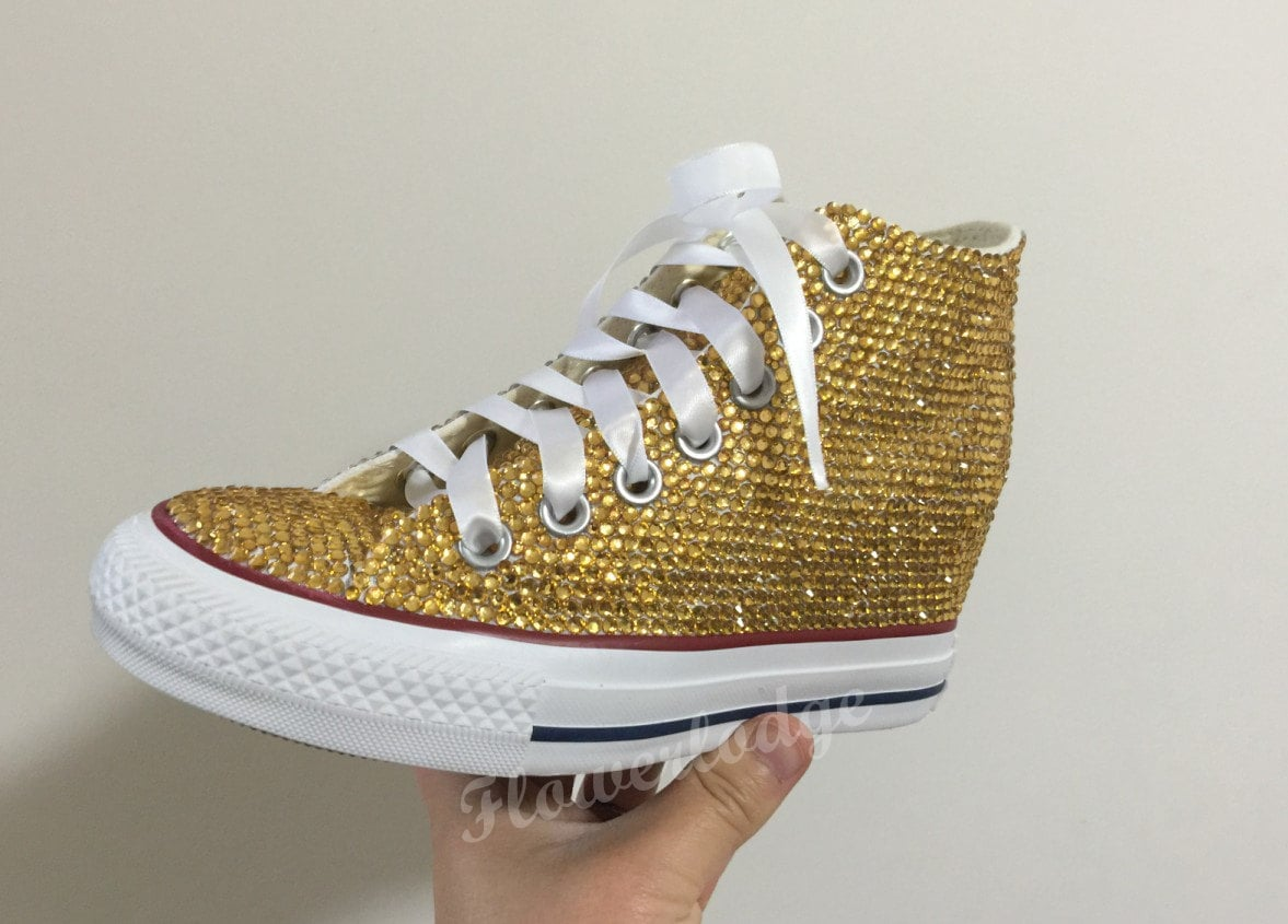 Gold Crystal Converse Shoes Bling Wedge Converse Shoes Toddle