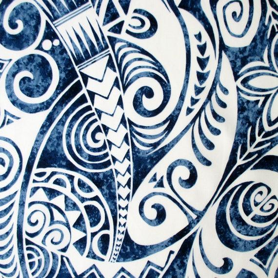 Fabric Pacific Island Tapa Blue Hawaiian Polynesian Tattoo