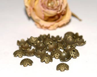 X 200 bead caps caps Indian flowers bronze 9.5 mm