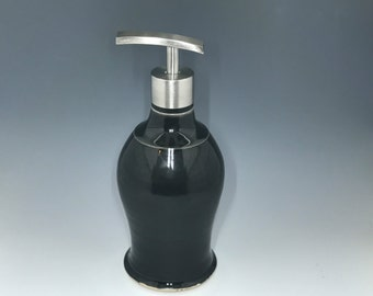 Handmade Gloss Black White or Bronze Porcelain Soap Dispenser - Sophisticated Pottery Soap Dispenser  - Soap Pump - Made To Order