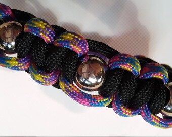 Katzen Halsband Schwarz Bunt ca 22,5 cm mit hochwertigen Acrylperlen oder Wunsch Mass