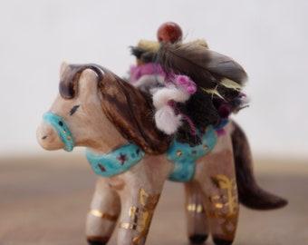 Native American horse figurine, horse totem, handmade ceramic, boho art, spirit animal, ceramic figurine