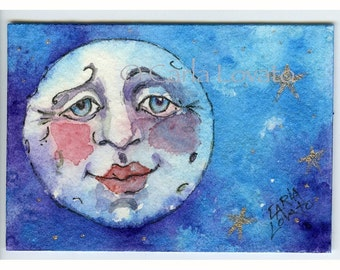 Blue Moon, Moon painting, Moon face, Moon and stars, nursery decor, wall art, 5 x 7 Giclee print, Matted to 8 x 10, ready to frame