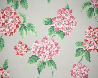 1940s Vintage Wallpaper by the Yard - Floral Wallpaper with Pink Hydrangea Blooms on Gray