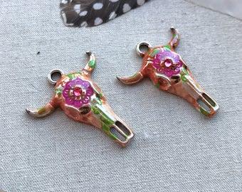 Boho Cow Skull Earring Charms, Hand Painted Floral Skull, Longhorn Cow Skull Charms, Boho Skull Earrings, Dry Gulch, 2 Charms, Raseda #2215