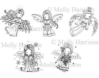 Set van 5 engeltjes - digitale stempels / Digi Stamps - afdrukbare - Molly Harrison Fantasy Art - Instant Download