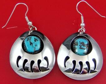 Women's Turquoise Bear Paw Print Earrings; Sterling Silver, Handmade. #ER0298