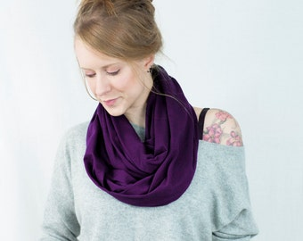 Purple Infinity Scarf, Aubergine Scarf, Beauty Gift Clothing Gift Purple Scarf, Circle Scarf, Womens Scarf, Gift for Her Mother Gift