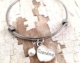 Grandma bracelet, grandma heart Charm Bracelet, adjustable bangle bracelet, Pearl bracelet, personalized Jewelry, gift for her