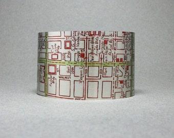 Cuff Bracelet St Louis Missouri Saint Louis Vintage Map Wide Metal Unique City Gift for Men or Women