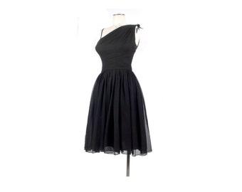 Vintage 50s Dress - Vintage 60s Dress - 50s Party Dress - 60s Party Dress - One Shoulder Dress - Black Chiffon Dress - Silk Chiffon Dress XS