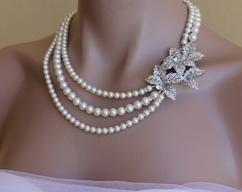Pearl Bridal Necklace, Vintage Style Crystal Bridal necklace,  Wedding Jewelry, Wedding Necklace, Bride Jewlery LEXI
