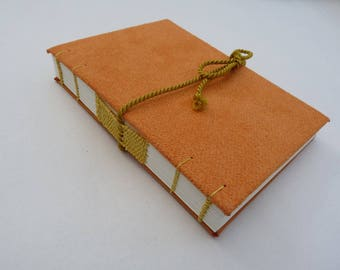 Orange, journal, Coptic, woven spine, notebook, faux suede, string
