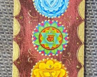 Chakra Wall Hanging, meditation art,zen plaque, yoga art, healing wall art, chakra art,  wood plaque, all chakra's, Om plaque.