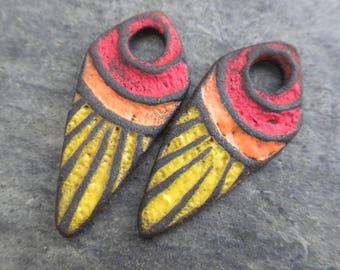 Radiant- handmade artisan ceramic rustic tribal earring bead pair 4172