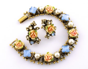 Vintage Victorian Revival Floral Pearl Roses Bracelet & Earrings Jewelry Set