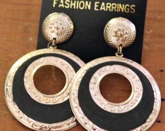 Vintage New Gold Tone and Black Hoop Style Earrings