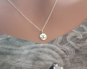 Sterling Silver Simple Y Initial Necklace, Silver Stamped Y Necklace, Stamped Y Initial Necklace, Small Y Initial Necklace, Y Initial Charm