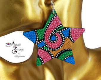 Bright Neon Color Star Earrings, Big Bold Hand Painted Wood Earrings, Cosmic Afrocentric Natural Hair Retro 80s 90s Retro Festival Earrings