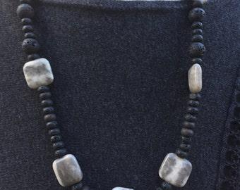 Lava Gemstone Necklace, Jasper Necklace, Handmade Gemstone Necklace, Designer Gemstone Necklace, Lava Jewellery