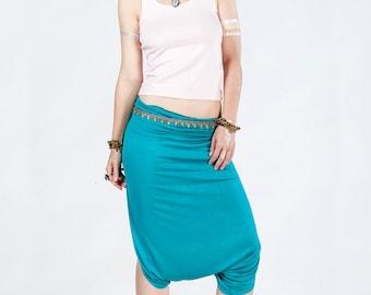 Blue women loose crop pants / Hippie Yoga Loose capris / Cotton indian festival urban comfortable casual Boho bohemian stylish skirt trouser