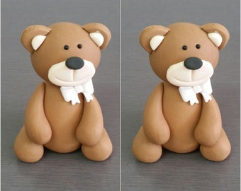2 x Teddy Cake Toppers, Edible fondant teddy cupcake toppers, 3D teddy decorations