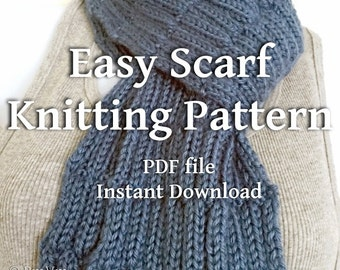 Textured Scarves Knitting Pattern Country Blue Scarf Beginner Knitters Scarf Tutorial You Can Sell What You Make Instant Download PDF File