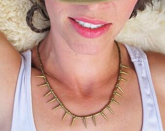 Geometric Brass Necklace, Spike Brass Necklace, boho brass necklace, spike necklace,tribal necklace,brass jewelry,boho jewelry