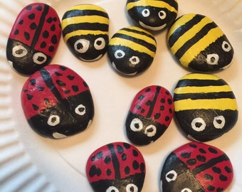 Lady Bug and Bee Tic Tac Toe Stones or Garden Stones