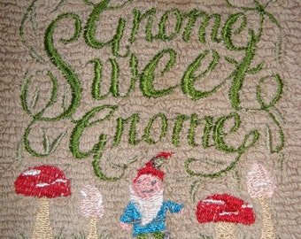 Brown Gnome Sweet Gnome hand towel 16 in X 26 in