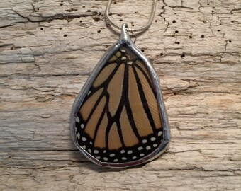 Real Butterfly Wing Necklace, monarch Pendant, real butterly jewelry, insect jewelry, butterfly pendant, handmade, butterfly, monarch