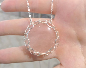 Rose Quartz Pendant Wrapped in Sterling Silver Wire