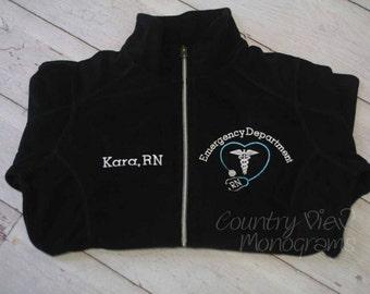 Emergency Department Stethoscope Caduceus-Emergency Nurse  Fleece Jacket-RN zipup light or heavy weight fleece jacket with-TYPEWRITER TURQ