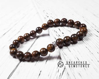 Bronzite Bracelet - Brown Accessories, Brown Jewelry, Brown Mens Bracelet, Brown Gemstone Bracelet for Men, Mala Bracelet
