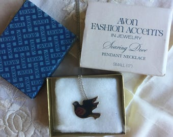 SALE!Avon NIB Soaring Dove Pendant Necklace, 1978