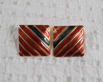 Gold Tone Red Blue Enamel Square Clip On Earrings