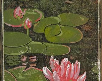 Linocut, Woodblock, Lino Print, Ink Print, Water, Water lily, lily, Waterlily, Block Print, Linoleum Print, Linoleum, printmaking, ink