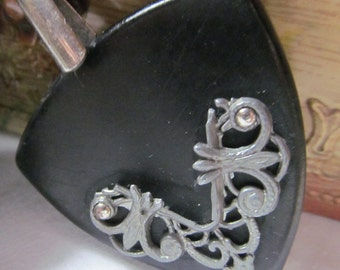 Antique Cloak Clasp Edwardian Silver Filigree Black Bakelite Buckle Edwardian Jewelry Bakelite Victorian Mourning Jewelry Antique Fur Clip