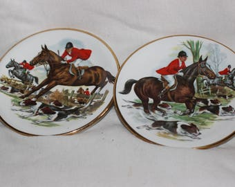 Vintage Pall Mall Ware F. W.R. Hunting Scene Horse Dogs Trinket Dish