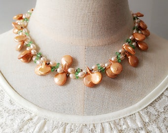 Natural Freshwater Pearl and Crystals S925 necklace