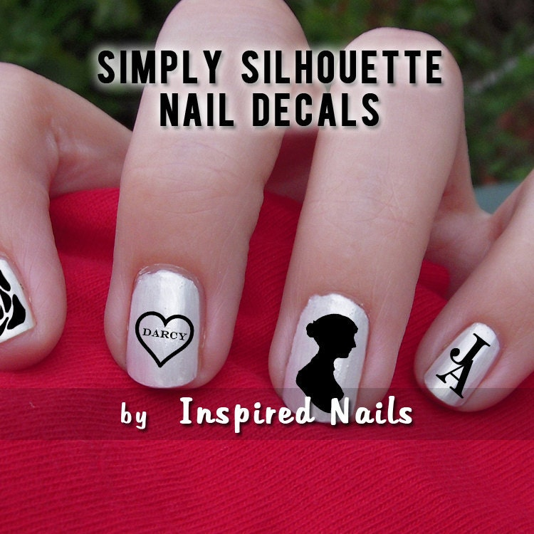 Jane Austen Nail Decals Black and Clear Simply Silhouette by