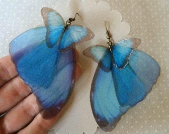 I Will Fly Away - Handmade Silk Organza Blue Morpho Butterfly Wings Earrings