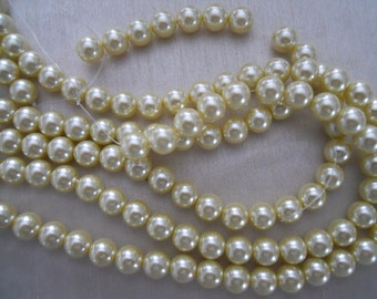 10mm Pale Yellow Glass Pearl Strand