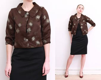 40s Brown Embroidered Silk Jacket / S