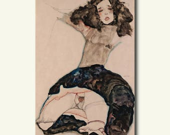 Bamboo Paper - Black Haired Girl With Lifted Skirt - Egon Schiele Print Schiele Poster Gift Idea Schiele Art  bp