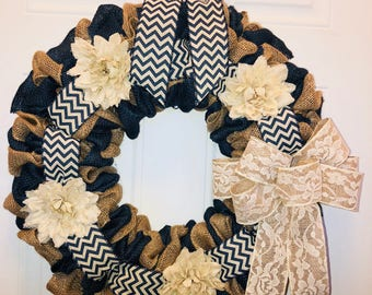 Year round burlap wreath with chevron and lace