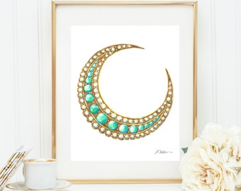 Victorian Turquoise and Pearl Crescent Moon Brooch Watercolor Rendering printed on Paper