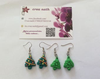 earring type polymer clay Christmas tree